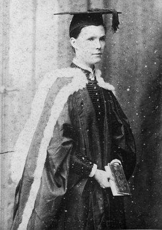 Mary Elizabeth Brown - The graduation ceremony held in the Great Hall in 1885 was the first to have women graduates (two). One was (Mary) Elizabeth Brown.
