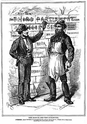 Alexander Mackenzie (politician) - 1875 Canadian Illustrated News cartoon shows Mackenzie the Mason and Governor General Lord Dufferin the Overseer