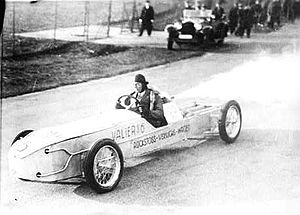 Max Valier - Valier in a rocket car, circa April 1930.