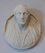 Medallion Portrait of Menander, view 1, Roman, 4th century AD, adaptation of Greek statue of 3rd century BC, marble - Arthur M. Sackler Museum, Harvard University - DSC01535.jpg