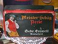 Meister Schäg Perel, Gebr Crüwell, Bielefeld, blechdose.JPG