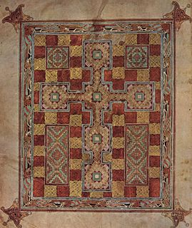 Carpet page page of mainly geometrical ornamentation in an illuminated manuscript