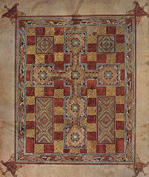 Celtic knot - Carpet page from Lindisfarne Gospels, showing knotwork detail.