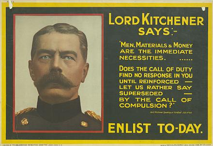 This poster with Kitchener's image and words was the most produced official recruitment poster.