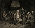 Men smoking, drinking and singing in a dingy smoke den. Engr Wellcome V0019057.jpg