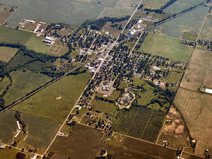 Mentone, Indiana - Mentone from the air, looking southwest
