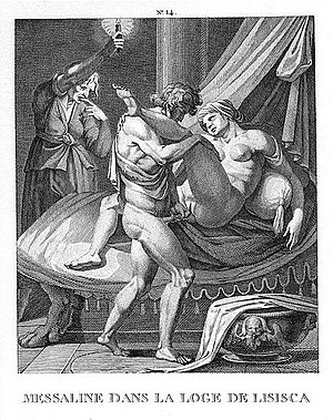 Messalina - Messalina working in a brothel: etching by Agostino Carracci, late 16th century