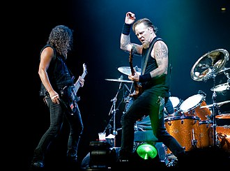 Kirk Hammett and James Hetfield of Metallica (pictured in 2008). Metallica's early work is regarded as essential to the development of the genre in the 1980s. Metallica London 2008-09-15 Kirk and James.jpg