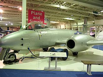 Royal Air Force Museum London - The Gloster Meteor on display in the Historic Hangars