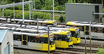 Bombardier M5000 trams stabled at the Queens Road depot. Metrolink Depot, geograph-4523325-by-Peter-McDermott.jpg