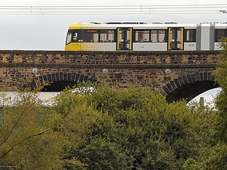 Trams in Europe - Radcliffe Viaduct, carrying Metrolink, Manchester, England.