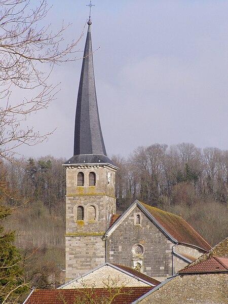 Photographie du clocher tors de l'église de Meuvy commune de Breuvannes-en-Bassigny (Haute-Marne) (France)