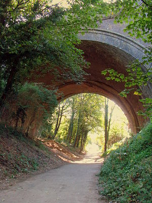 Great Northern Route - St Albans — a bridge (opened in 1868) carrying the Midland Railway over Hatfield and St Albans Railway (closed in 1964), a branch of the Great Northern Line. National Cycle Network road No 61.