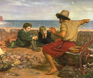 Storytelling - The Boyhood of Raleigh by Sir John Everett Millais, oil on canvas, 1870. A seafarer tells the young Sir Walter Raleigh and his brother the story of what happened out at sea