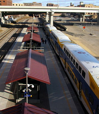 Target Field (Metro Transit station) -  A view down upon the Northstar Commuter Rail platform at Target Field Station.