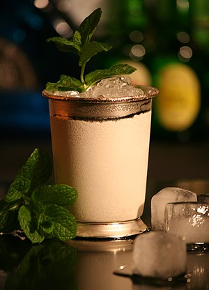 Mint julep - A mint julep served in the traditional silver cup.