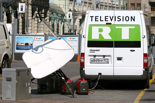 Mobiles TV-Übertragungsfahrzeug in Moskau