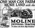 Moline Universal Tractor advertisement, Country Gentleman 1918-01-19.jpg