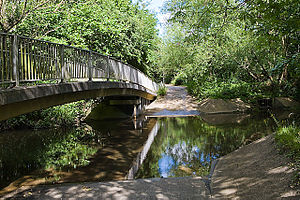 Monks Brook - Doncaster Drove, a byway off Stoneham Lane, crosses Monks Brook by footbridge and ford
