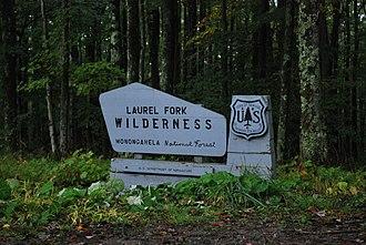 Laurel Fork North Wilderness - Sign for Laurel Fork Wilderness on Middle Mountain Road.