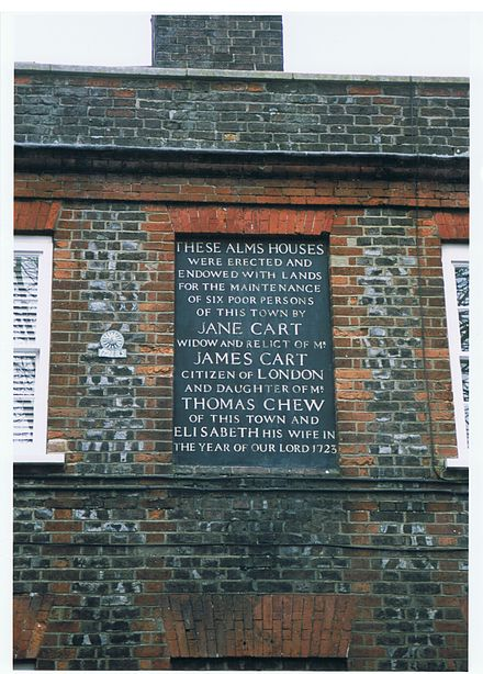 Monumental inscription on the Chew almshouses, commemorating their endowment in 1723. Monumental inscription on the Chew almshouses, commemorating their endowment in 1723.jpg
