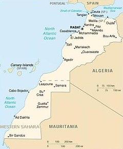 La mappa politica del Marocco comprendente anche la zona sud