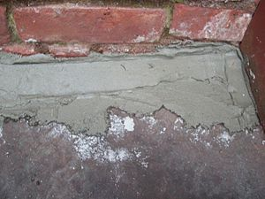 Handyman - This project involved mortaring the crack between the back patio and the exterior wall to prevent water from seeping into the basement.
