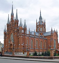 A cathedral with pinnacles