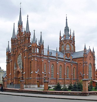 Polish minority in Russia - The Cathedral of the Immaculate Conception of the Holy Virgin Mary in Moscow was built in years 1899-1911 by Polish architect Tomasz Bohdanowicz-Dworzecki. It is site of Polish-language services.