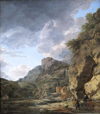 Willem Schellinks - Mountain Landscape with River and Wagon