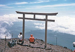 Torii near summit of Mt. Fuji, Honshu, Japan v...