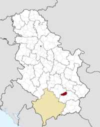 Location of the municipality of Bojnik within Serbia
