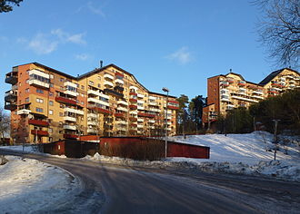 Ralph Erskine (architect) - View of Myrstugeberget, Masmo, Huddinge, Sweden, designed by Ralph Erskine.
