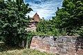 Nürnberg, Stadtbefestigung, Frauentormauer am Mauerturm Rotes N 20170616 001.jpg