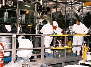 Radiation protection - Large scale glovebox in the nuclear industry used to contain airborne radioactive particles.