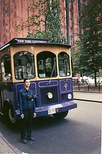 A bus and trolley system transports students to and from the far ends of campus