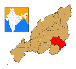 Kiphire district's location in Nagaland