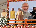 Narendra Modi launching the mobile app for citizens' facilitation in Chandigarh Housing Board, at the inauguration of New Housing Scheme, in Chandigarh. The Governor of Punjab and Haryana and Administrator.jpg