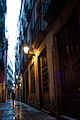 Narrow evening streets of Barcelona, Catalonia, Spain.jpg