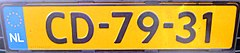 Netherlands diplomatic license plate CD-79-31.jpg