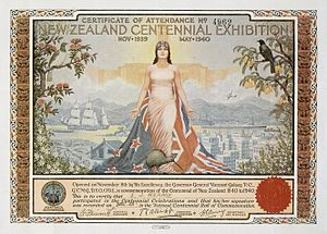 Zealandia (personification) - Image: New Zealand Centennial Exhibition Certificate of Attendance