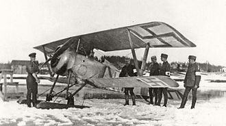 Battle of Antrea - A White Nieuport 17 fighter in Antrea Airfield