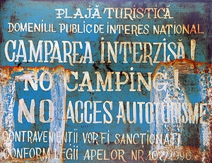 """Vama Veche - """"No Camping"""" sign on the beach"""