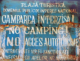 "Vama Veche - ""No Camping"" sign on the beach"