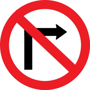 Prohibitory traffic sign - Image: No right turn THA B 9