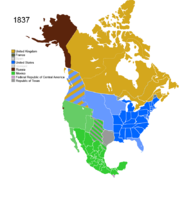 Map showing Non-Native American Nations Control over N America c. 1837