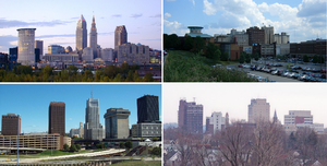 Northeast Ohio - (Counterclockwise from top) Skylines of Cleveland, Akron, Canton, and Youngstown