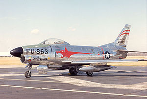 McGhee Tyson Air National Guard Base - North American F-86D Sabre at the National Museum of the United States Air Force.  This type of interceptor aircraft was assigned to McGhee Tyson AFB during the 1950s.
