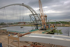 Infinity Bridge - South bank of North Shore Footbridge during construction