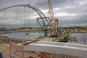 Infinity Bridge - South bank of North Shore Footbridge during construction
